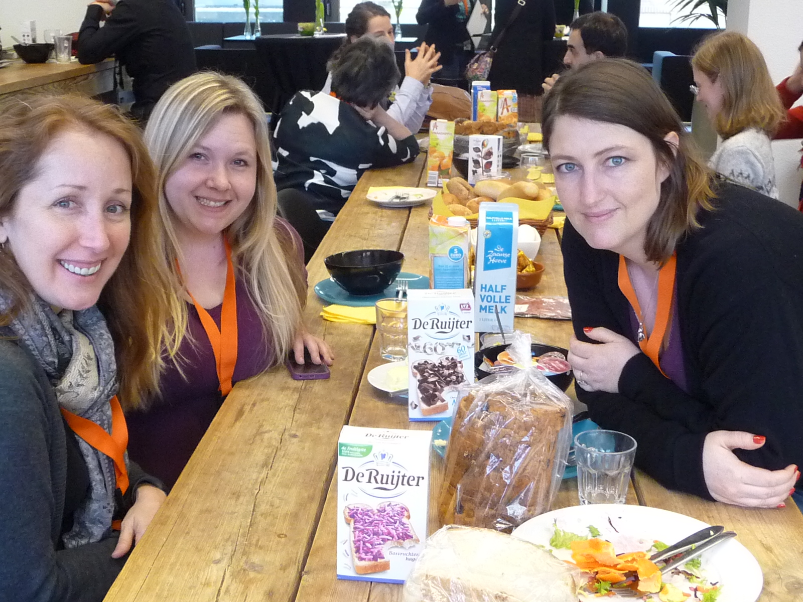 SCBWI France Board Member Elizabeth Brahy (on right) with SCBWI EU members taking a lunch break during the Europolitan 2015 conference in Amsterdam.