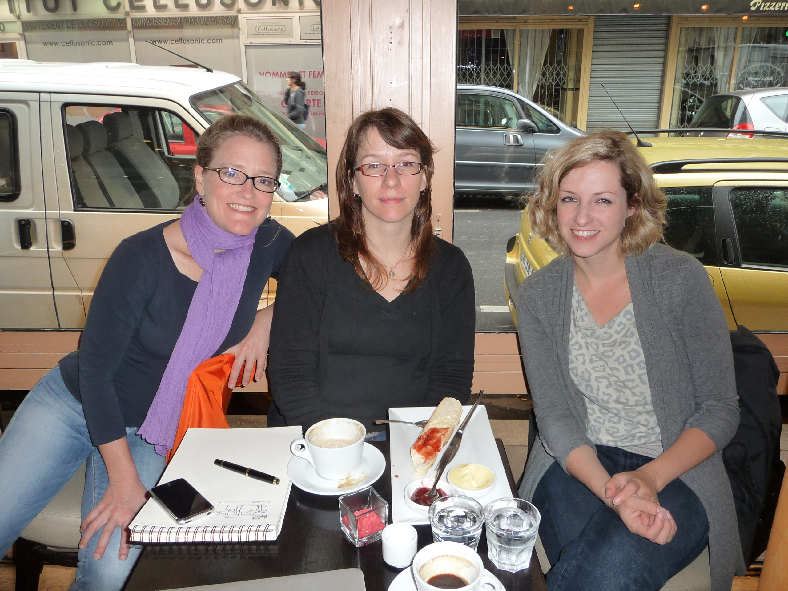 Members Sarah, Gudrun and Lindsey met for breakfast during our annual June 21 Scrawl Crawl.